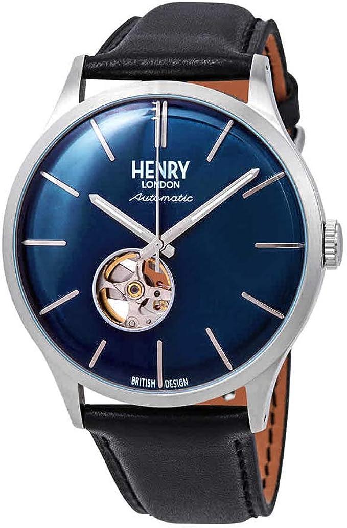 Henry London Reloj Esqueleto para Hombre de Automático con Correa ...