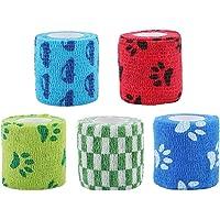 Balacoo 5pcs Nonwovens Pets Bandages Cohesive Bandages Wraps Animal Bandages (Mixed Color)