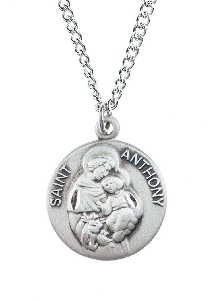Amazon.com: Colgante de medalla de plata de ley católica ...
