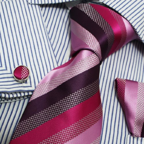 Italian Style Pink Purple Stripes Silk Tie Hanky Neck Tie for Him Set with Presentation Box PH1020 One Size Pink (Italian Neckwear)