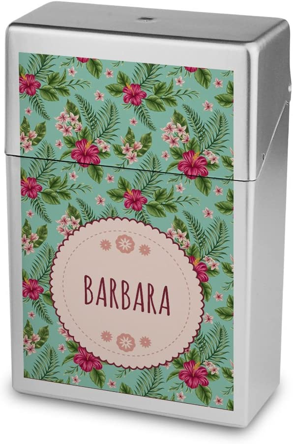 Zigarettenbox mit Namen Barbara Zigarettenschachtel Kunststoffbox Zigarettenetui Personalisierte H/ülle mit Design Blumen