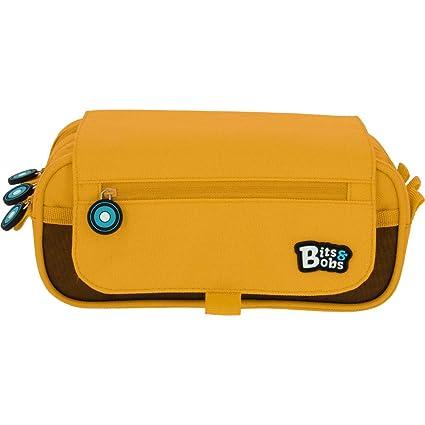 Grafoplás bits & Bobs - Estuche 3 Compartimentos con Solapa, Amarillo, 23 cm