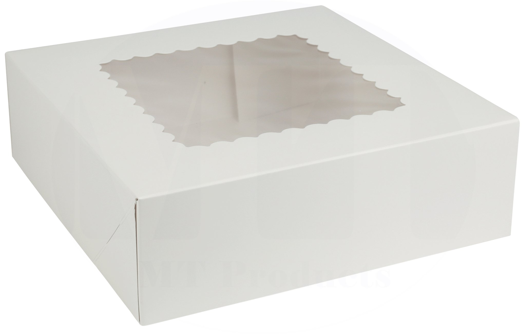 8'' Length x 8'' Width x 2 1/2'' Height White Kraft Paperboard Auto-Popup Rounded Design Window Pie/Bakery Box by MT Products (Pack of 15)
