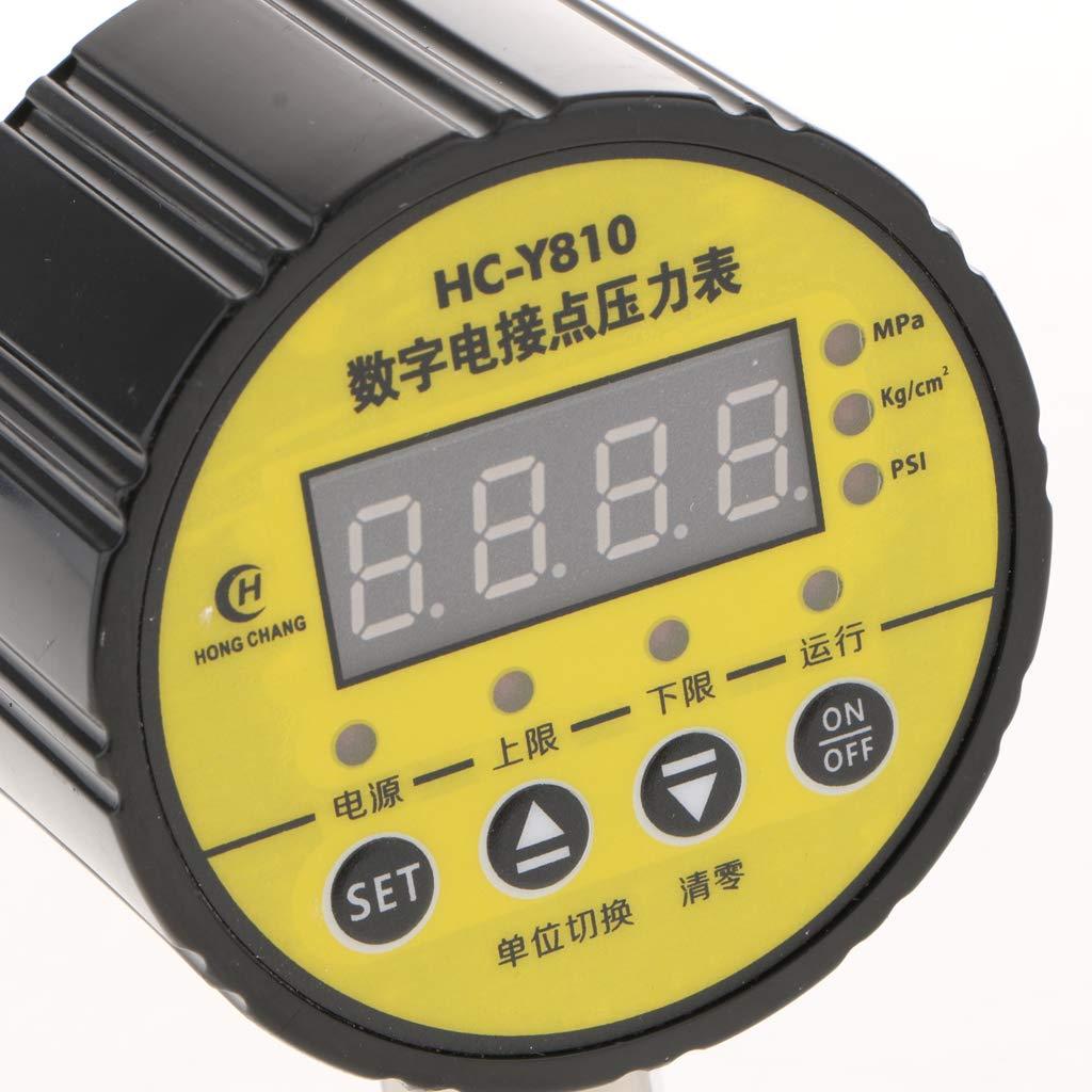 Giallo perfeclan Manometro Digitale Contatto Elettrico Vacuometro Display Misurazione Pressione Nero 0-2.5MPA