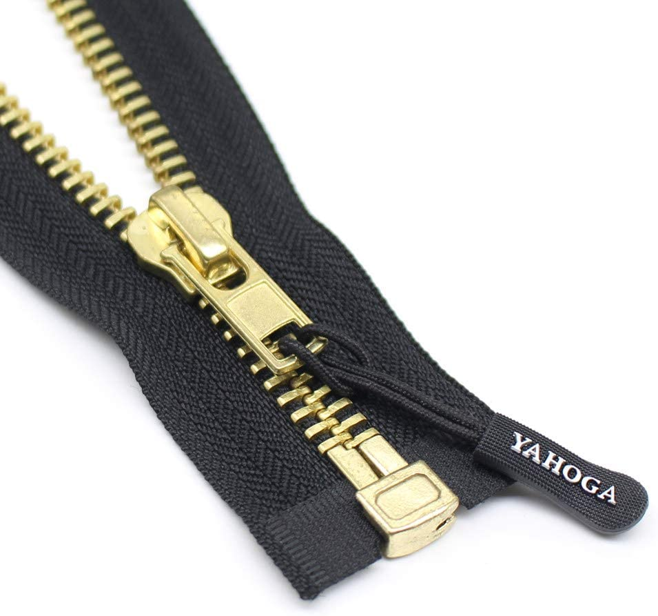 YaHoGa #10 29 Inch Brass Separating Jacket Zipper Y-Teeth Metal Zipper Heavy Duty Metal Zippers for Jackets Sewing Coats Crafts 29 Brass