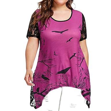 HUI.HUI Femme Vetements Oiseau Et Arbre Col Rond Dentelle Manche Courte T  -Shirt ebc21f48e27