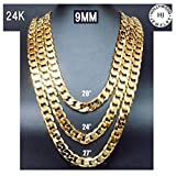 24K Gold Chain Necklace 9.2MM Diamond cut Smooth Shinny Cuban Link Thicker Than Gold Plated Fashion Men Jewelry