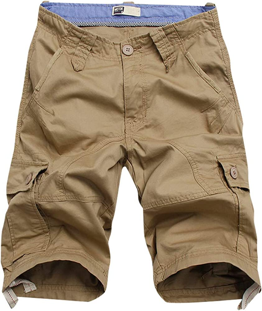 MOTOR CASUAL Men's Casual Twill Cotton Loose Fit Multi Pocket Cargo Shorts