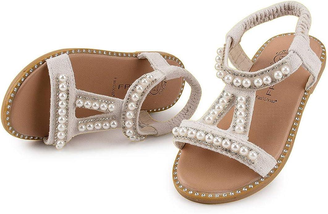 OCEAN-STORE Children Baby Girls Dance Princess Shoes Shallow Mouth Velcro Flower Student Single Soft Sandals