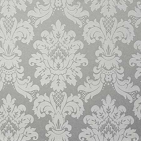 New Luxury Arthouse Messina Damask Heavyweight Vinyl Textured Wallpaper Platinum