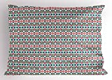 Ambesonne Ikat Pillow Sham, Ancient Cultures Theme Mexican Aztec Motifs with Geometrical Native American Design, Decorative Standard Size Printed Pillowcase, 26 X 20 inches, Multicolor