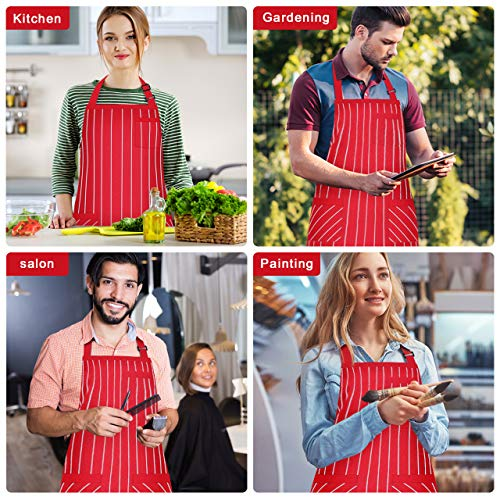 Syntus 2 Pack Adjustable Bib Apron with 3 Pockets Cooking Kitchen Aprons for BBQ Drawing, Women Men Chef, Red/White… 7