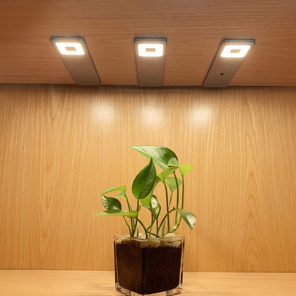 DA LIGHT Warmwei/ß Energieeinsparend Flach /&Modernes Design Silbergeh/äuse LED K/üchenleuchte Schrankleuchte Einbaustrahlermit Schalter LED Unterbauleuchte K/üche 【2W*3 400LM 4000K】 3er Set