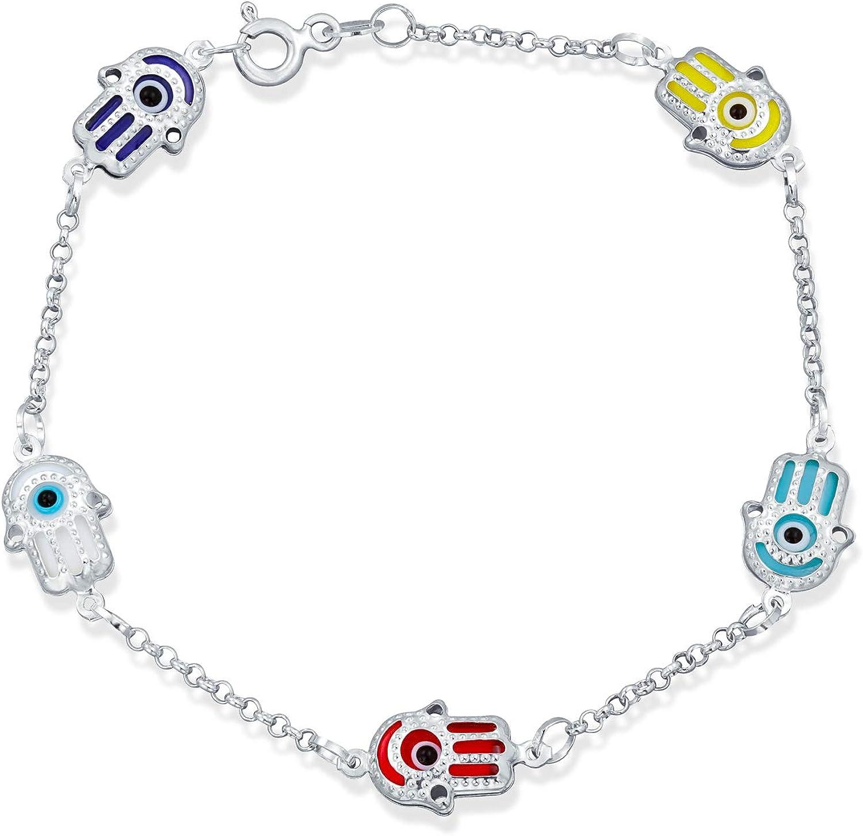 Round Turkish Evil Eye 925 Sterling Silver Bracelet with  Rhinestones.