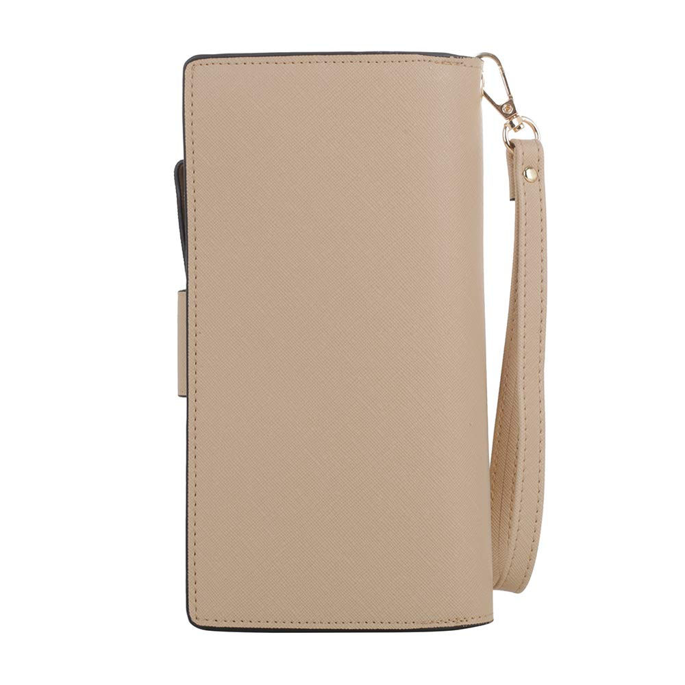 SG SUGU Vegan Leather Large Wristlet Purse Bag Zip Around Wallet Clutch Card Holder | Beige: Handbags: Amazon.com