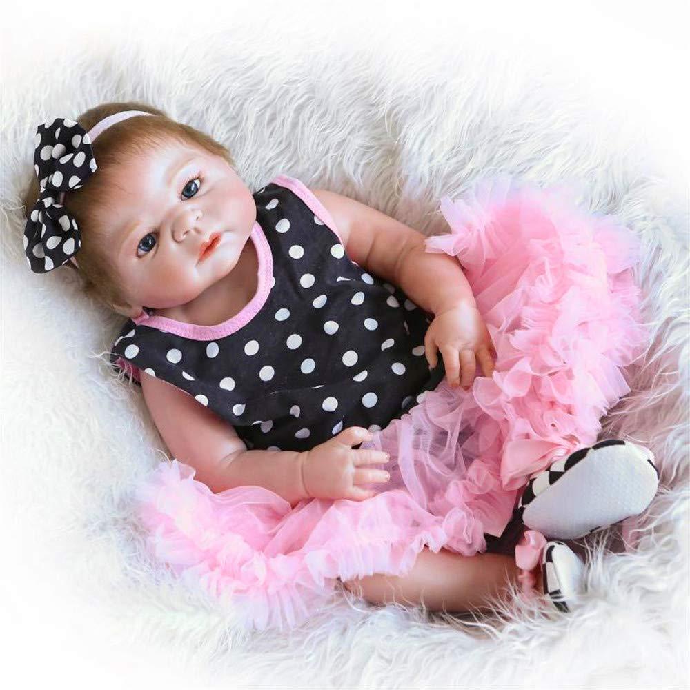 22 Zoll 55 cm Reborn Baby Puppe Reborn Baby Silikon Puppe Vinyl Happy Girl Kinder Spielzeug ...
