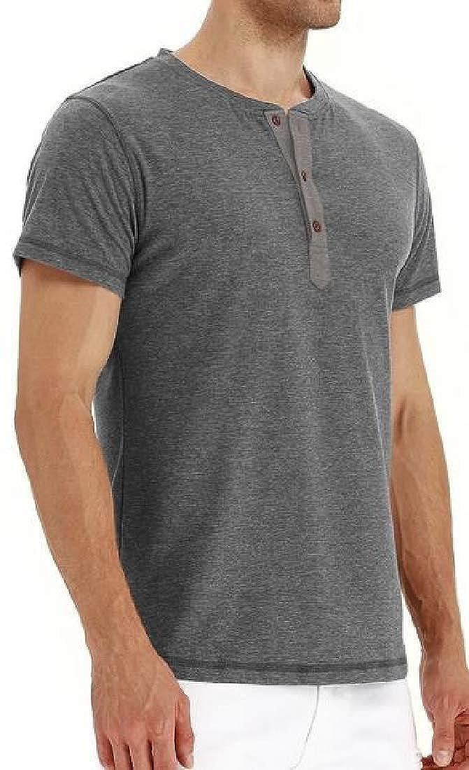 Pandapang Mens Solid Button Short Sleeve Henley Pullover Top Tee T-Shirts