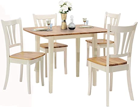 Amazon Com Giantex 5 Piece Dining Table Set With Folding Tabletop Wood Kitchen Table And 4 Chairs Set Modern Extendable Dining Table 31 5 Inch To 42 Inch Compact Dinette Set For Small Space