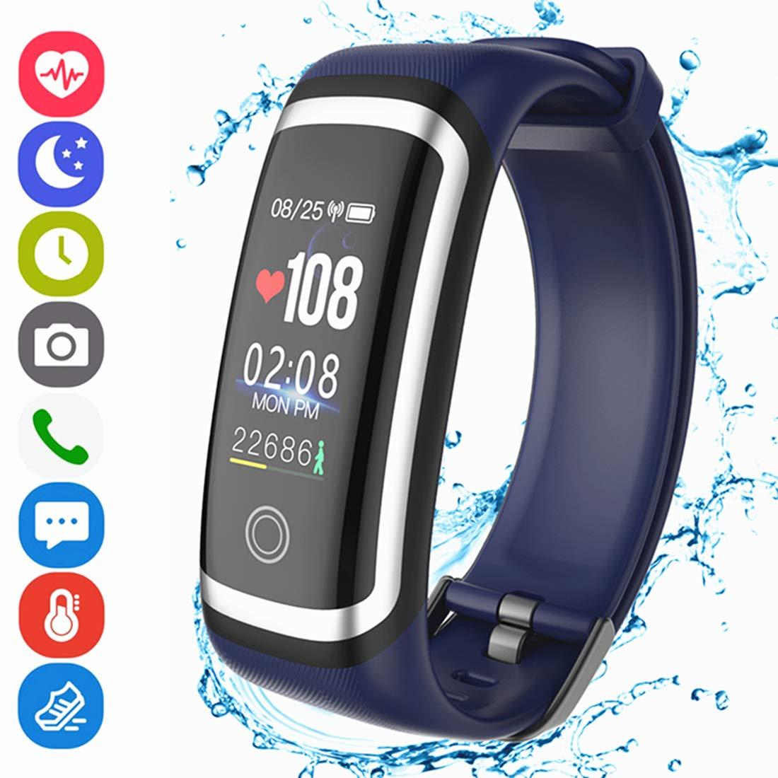 Hocent Fitness Armband, Fitness Tracker Aktivitä tstracker mit Pulsmesser Schrittzä hler Uhr Farbbildschirm Wasserdicht IP67 Anruf SMS SNS Erinnern fü r Mä nner Frauen Kinder Kompatibel mit Android IOS