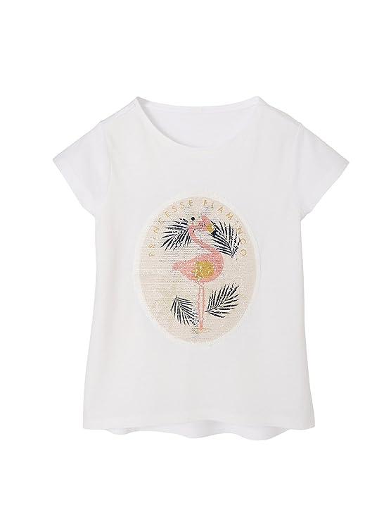145f1f01d VERTBAUDET Camiseta para Niña con Lentejuelas Reversibles Blanco Claro Liso  5A  Amazon.es  Ropa y accesorios