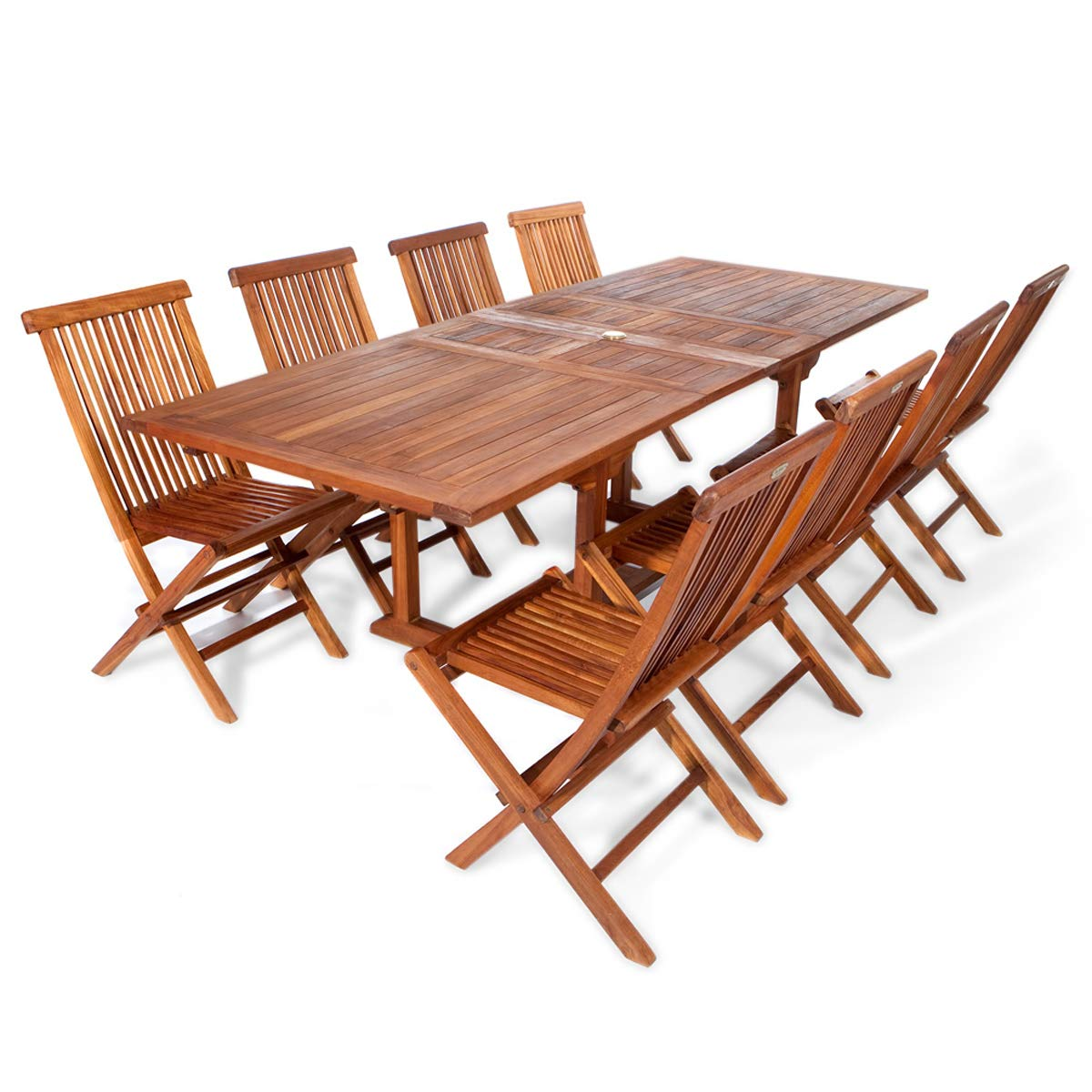 All Things Cedar TE90-22 Teak Rectangular Extension Patio Table with Folding Chairs Set, 9-Piece