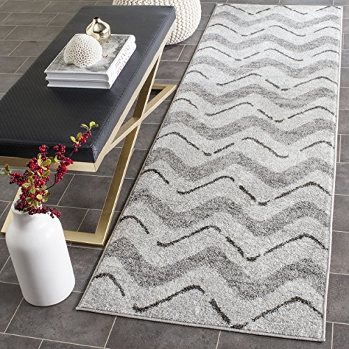 - Safavieh Adirondack Collection ADR121P Silver and Charcoal Modern Chevron Runner (2'6