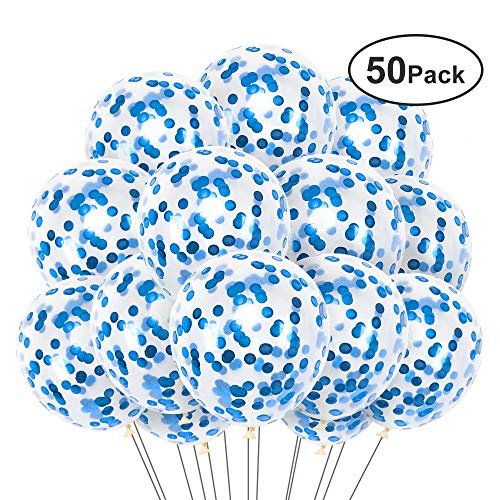 50Pcs Blue Confetti Balloons, 12 Inch Latex Party Balloons with Blue Paper Confetti Dots for Birthday Wedding Engagement Baby Shower Christmas Festival Party Decorations (Blue) ()
