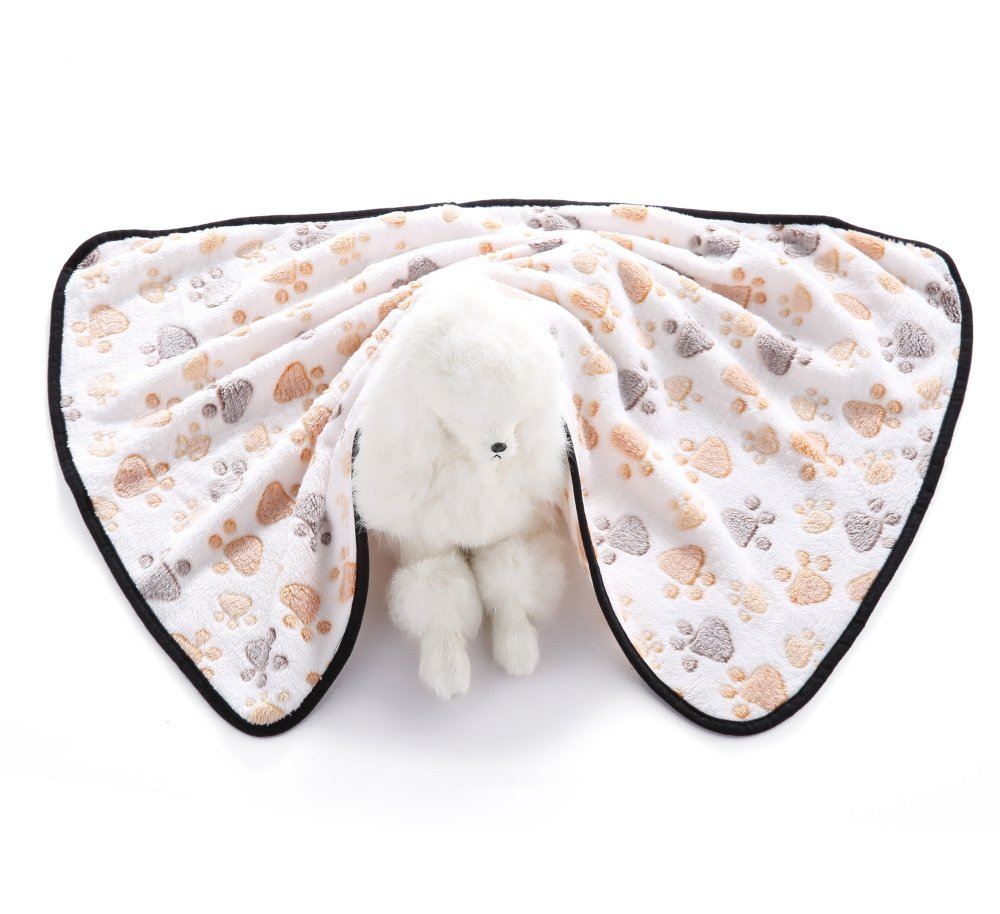 S-Lifeeling Cat Dog Blanket Pet Cushion - Puppy Kitten Soft Blanket - Doggy Warm Bed Mat Paw Print Cushion for Cute Animal Catty and Doggy Sleeping Playing Resting