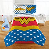 Wonder Woman fans will definitely want this Bed in a Bag bedding set. Set includes twin/full comforter, flat sheet, fitted sheet and pillowcase(s). Comforter is reversible which allows you to change the look of the bed by simply flipping comf...