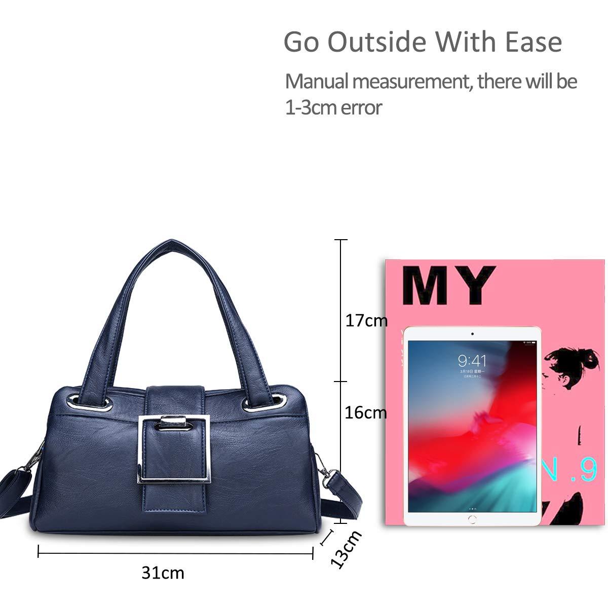 NICOLE /& DORIS Bolsos de Mujer Bolsos Baguette para Damas Bolsos de Bandolera de Moda Bolso de Cuero PU Retro Bolsos de Mujeres Azul Oscuro