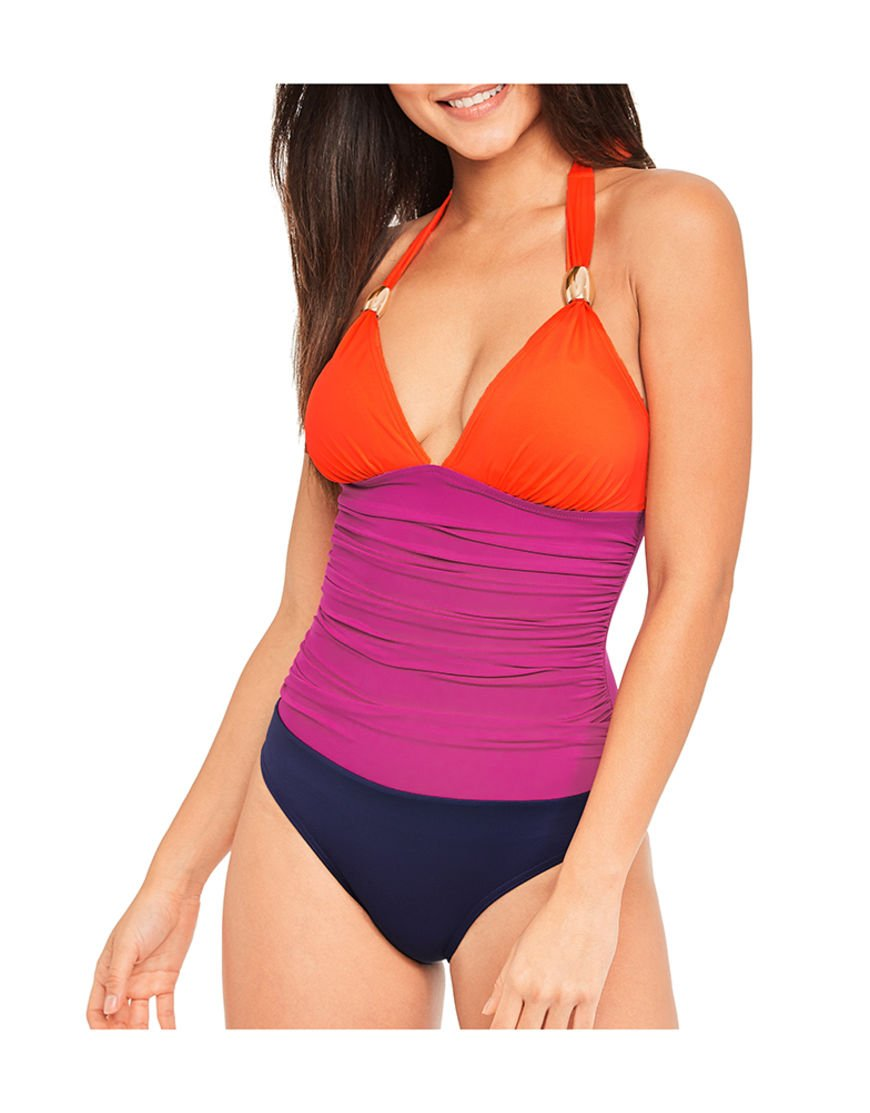 Figleaves Womens Halter Neck Colourblock Padded Control Shaping Swimsuit