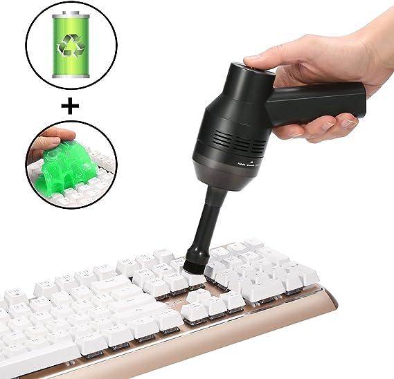 MECO Mini Aspirador de Teclado para Ordenador, Aspiradora Portátil Inalámbrico Recargable con Li-batería Aspirador con Gel, para Coche, Mesa, Escritorio, Sofá, Laptop, Migas, Virutas de lápiz, Cabello: Amazon.es: Electrónica