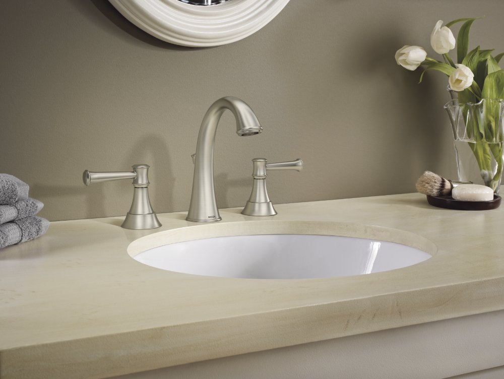 Moen WS84778MSRN Ashville Widespread 2 Handle Bathroom Faucet with Microban Protection, 8'', Spot Resist Brushed Nickel