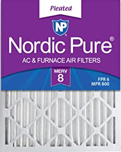 Nordic Pure 16x20x2 MERV 8 Pleated AC Furnace Air Filters 3 Pack, 3 PACK, 3 PACK