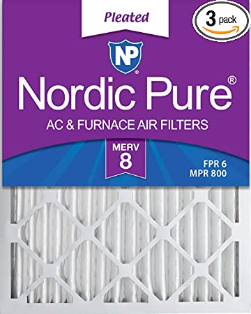 2 Pack Nordic Pure 10x24x1 MERV 8 Pleated Plus Carbon AC Furnace Air Filters 2 piece