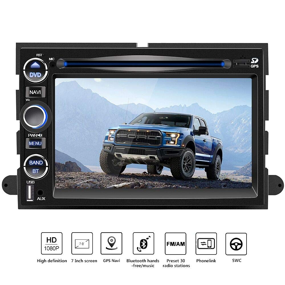 Double Din Car Navigation Stereo Radio,7 Inch HD Radio GPS Touch Screen Bluetooth FM Radio for Ford, Mirror Link, Steering Wheel Control, CD, USB Stick and MicroSD Memory Card F150 by junsun