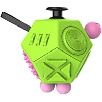 CHUCHIK Fidget Cube Toys. Prime Desk Toy, Reduce Anxiety and Stress Relief for Autism, Add, ADHD & OCD. (1 Pack, 12 Side - Green-Pink)