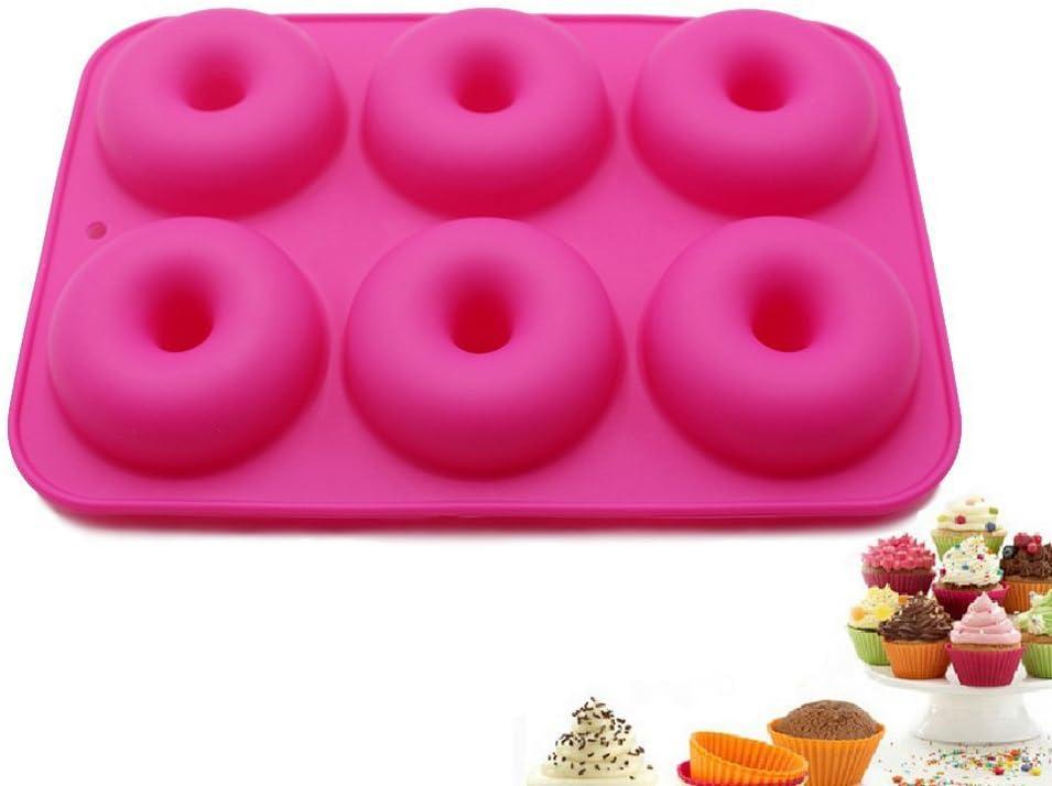 selecto Bake/ /Molde de silicona de 6/Cavidad Donuts Chocolate magdalenas rosa