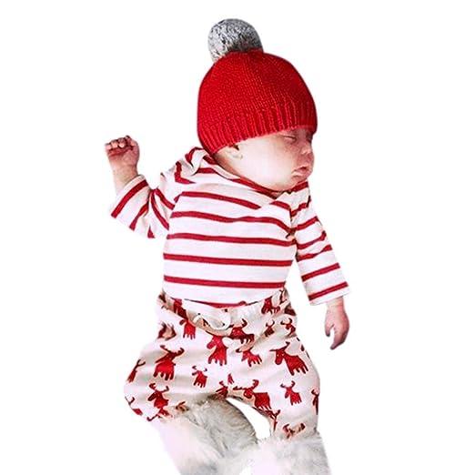 odeer baby christmas costumes cute baby girls boys clothes stripes topsdeers print pants