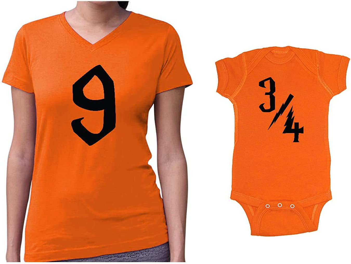 Platform 9 /& 3//4 Matching Womens V-Neck T-Shirt /& Baby Bodysuit Set We Match