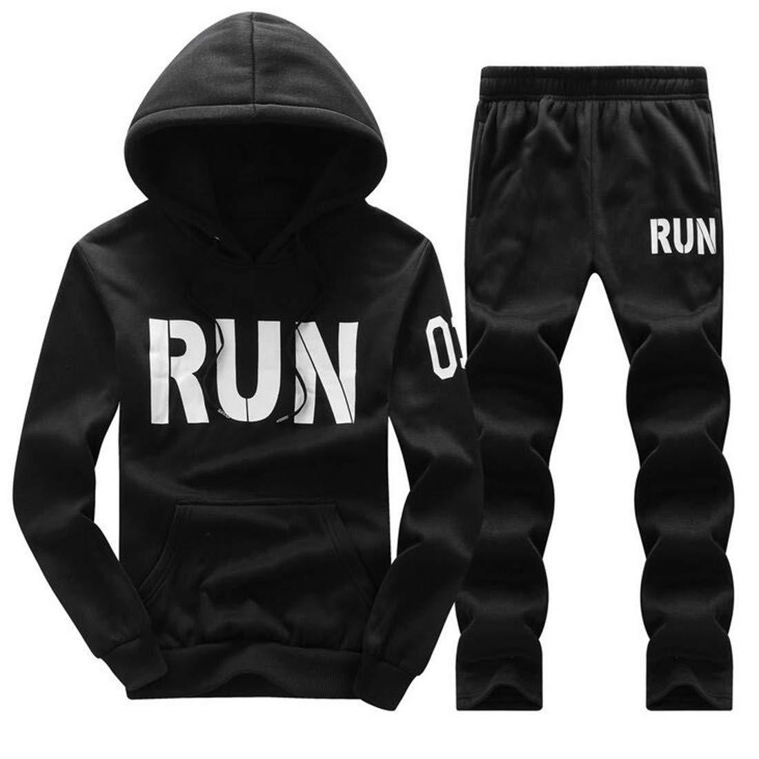01d0dda8e Black Domple Domple Domple Mens Hooded Sweatsuit Sweatpants Letter Print 2  Pcs Outfits Sport Tracksuits 6391af