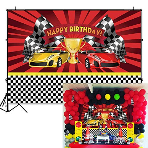 Funnytree 7x5ft Racing Car Themed Birthday Backdrop Champion Flag Black White Grid Red Photo Backgrounds for Boy Party Decorations Photo Booth Cake Table Banner -