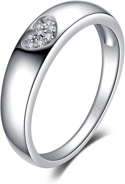 JewelryPalace Amor Corazón Zirconia cúbica Creado Rubí Promesa Compromiso Boda Bandas Anillo de plata de ley 925