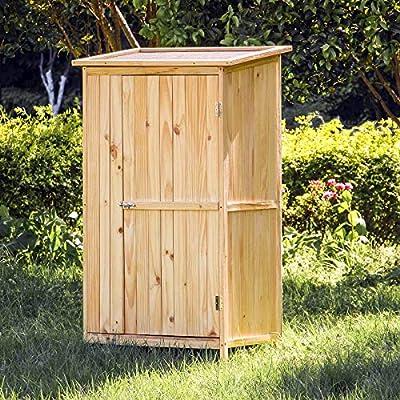 Armario jardín 1 puerta Madera Color natural 91x60x155cm Almacenaje Exterior Terraza Herramientas