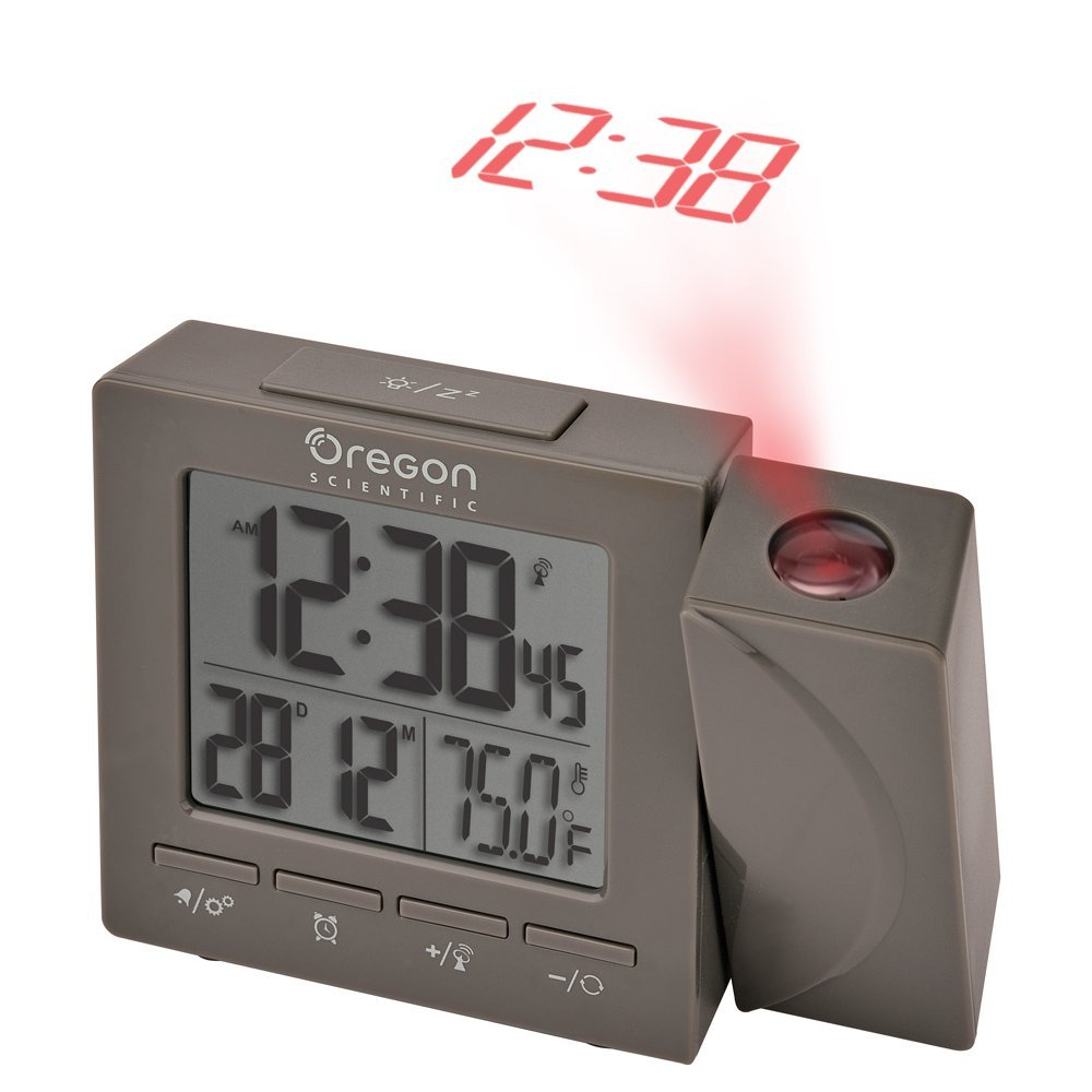 Oregon Scientific Travel Projection Atomic Clock with Indoor Temperature Calendar Alarm - Gray