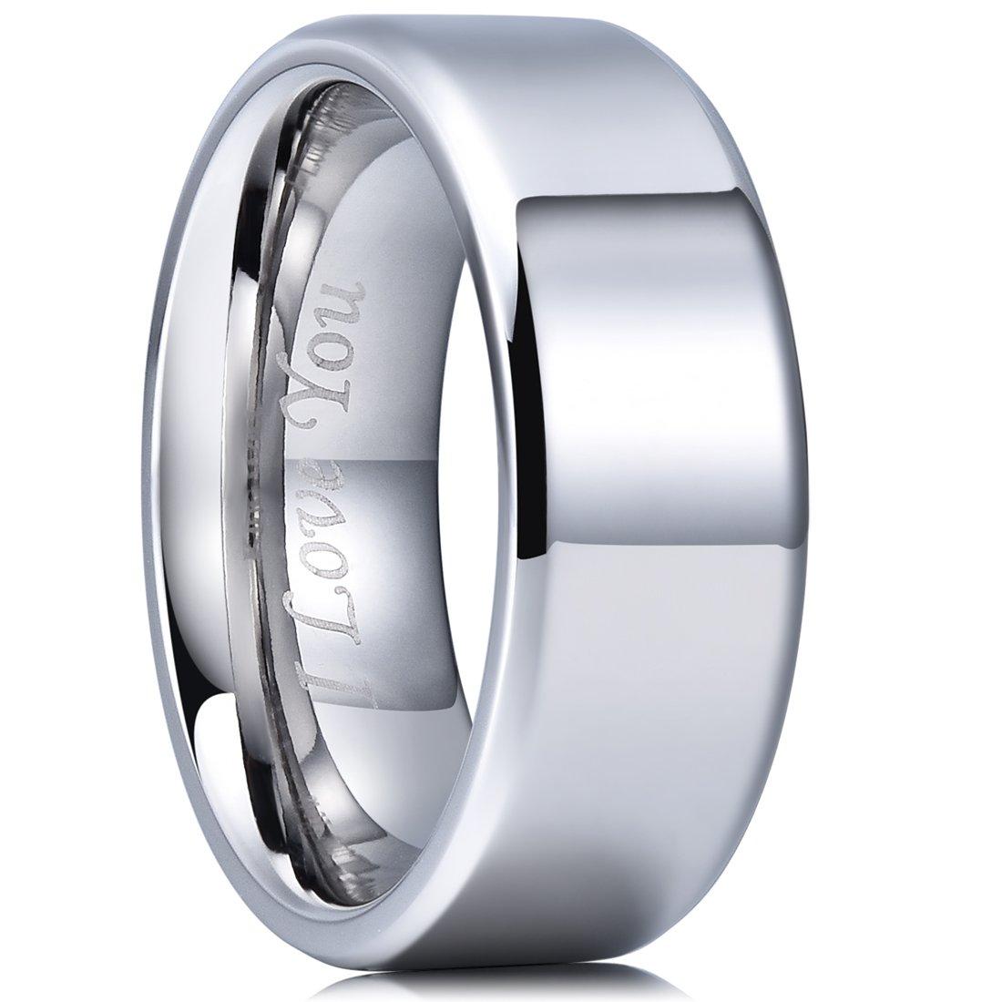 King Will Basic 8mm Stainless Steel Ring Polished Plain Beveled Edge Wedding Band Laser Etched I Love You 10