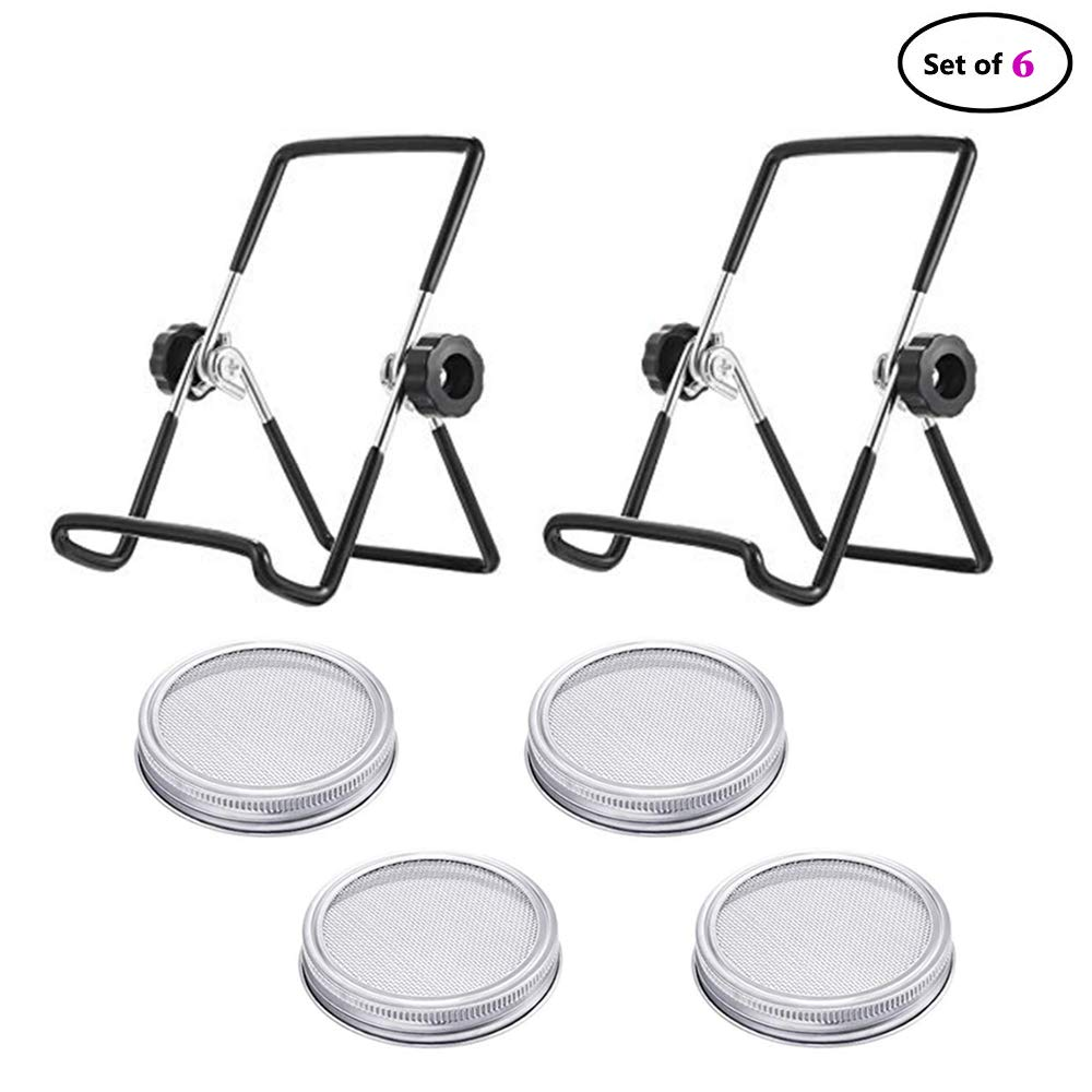 Sprouting Jar Lids with Stands,Muhubaih 4 Pack Stainless Steel Sprouting Jar Lids with 2 Pack Stainless Steel Sprouting Stands for Wide Mouth Mason Jars and Sprouting Seeds Jar (Black)