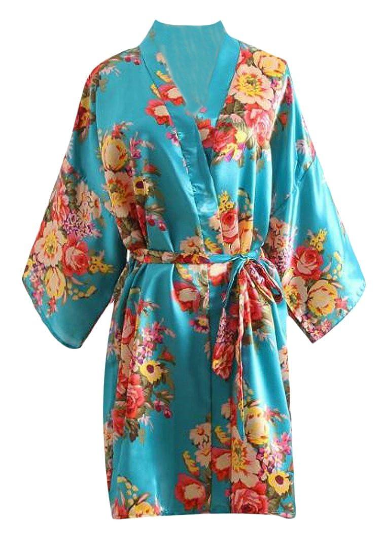 LD Womens Vintage Peony Printed Long Sleeve Silk Cardigan Kimono Bathrobe Nightgown