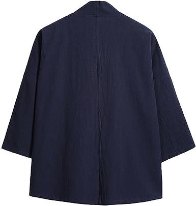 cuello en V Mirecoo Haori Chaqueta de kimono para hombre