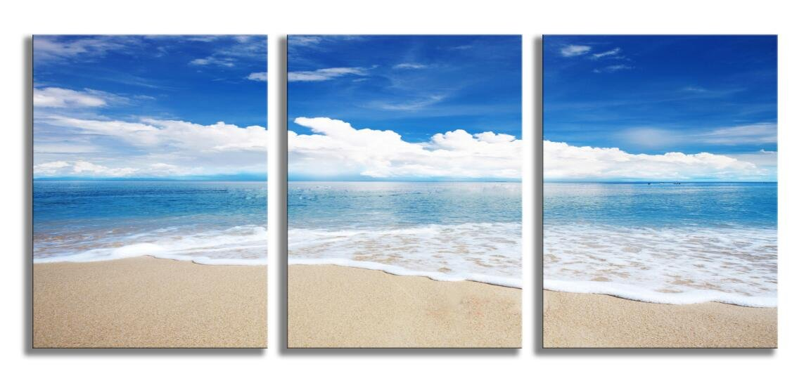 Blue Sea Wall Art Beach Painting Seascape 3 Panels Stretched and Framed for Home Decoration 12x16inch